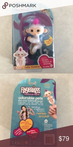 Fingerlings Monkey Sophie white with pink hair Brand new sealed package Wow Wee Other