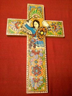 "XLarge 19"" Handmade Mexican Folk Art St. Michael Wood Cross Hand Painted :D"