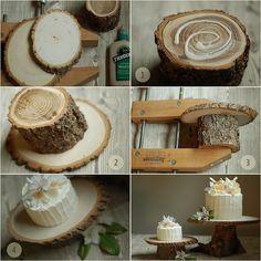 View in gallery diy rustic wood cake stand diy rustic wedding cake stand
