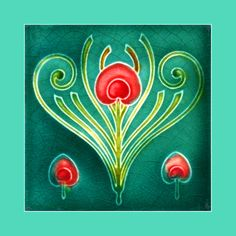 """155 Art Nouveau tile by T. & R. Boote (1905). Courtesy of Robert Smith from his book """"Art Nouveau Tiles with Style"""". Buy as an e-card with a personalised greeting!"""
