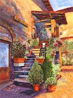 West of The Wind All-Weather Art Restorante Assisi Print - - Prints are waterproof Outdoor Wall Art, Outdoor Walls, Weather Art, Mediterranean Garden, Garden Fountains, Wall Art Decor, Canvas Art, Landscape, Prints