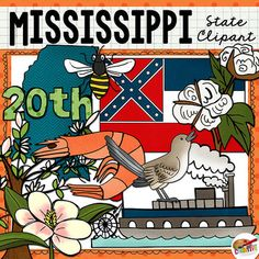 Mississippi state clip art and line art includes 10 high quality color and black line clipart illustrations to show the state's flag, flower, tree, bird, and more. All images are 300 dpi for high quality printing.This state clip art set includes: Mississippi state shape, state flag, magnolia tree, magnolia blossom, mockingbird, shrimp, cotton plant, honeybee, river steamboat.