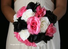 Black and pink wedding flowers