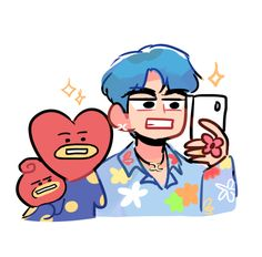 """claire//semi-hiatus! on Twitter: """"selca time with tata & titi #btsfanart #BTS #BT21 #V @BTS_twt… """" Pop Stickers, Kpop Diy, Kpop Drawings, Bts Chibi, Kpop Fanart, Fun Comics, Drawing Skills, Aesthetic Stickers, Album Bts"""