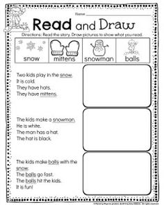 Reading Comprehension worksheet for Kindergarten or 1st grade - Snow Day Read and Draw Story. Use the pictures to figure out the underlined words. #kindergarten #reading #comprehension