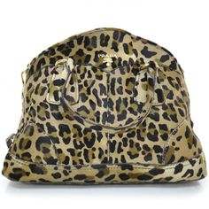 PRADA Leopard Print Pony Hair Cavallino Shoulder Bag Avorio ...