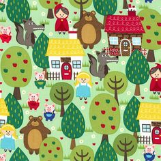 Michael Miller Fabrics Into the Forest 1/2 Yards Order in multiples and your order will ship in one continuous piece  Adorable Fairy Tale Print print