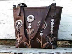 Hand stittched leather handbag Coffee colors by Ruth007 on Etsy