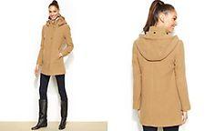 Ellen Tracy Hooded Wool-Blend Walker Coat