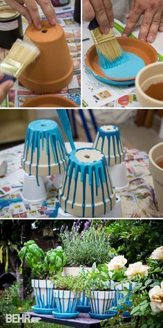 Twotone Painted Pots Fancy DIY Project Paint Pots Easy Diy - Diy two tone painted pots
