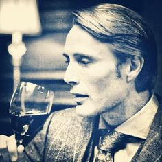 Mads Mikkelsen. Hannibal. Gorgeous black and white and wine....