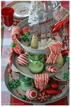 Easy and festive centerpiece with a galvanized 3 tier stand, layered with rock salt, candy canes, ornaments and and bottle brush trees in green Ball jars Christmas Kitchen, Country Christmas, All Things Christmas, Winter Christmas, Vintage Christmas, Christmas Time, Christmas Ideas, Primitive Christmas, Merry Christmas
