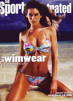 Sports Illustrated inside cover with Kim Smith. Shot in the Seychelles islands.