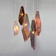 Copper Plated Stained Glass Pendant Lamps with crystal illusion by ODD Matter for interior design. Find more DIY lamp inspiration, tutorial and supplies at www.ilikethatlamp.com