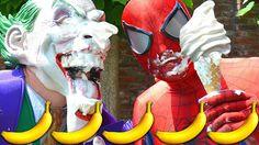 Spiderman vs Joker ICE CREAM BANANA POOL Pranks! Giant Freak challenge F...