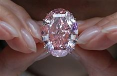 Pink Star diamond, the most valuable cut diamond ever offered at auction, at a Sotheby's auction room in Hong Kong, on March 29, 2017
