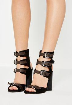 Missguided - Black Multi Buckle Gladiator Sandals