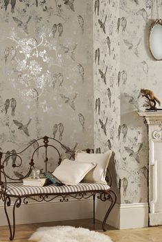 Nightingale Silk from Maison. A collection of wallcoverings that emobody's true vintage chic with thier romantic hues, hand blocked style and tempting textures.