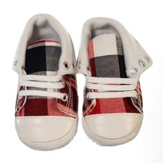Fashionable pre-walker sneaker for boys. Chequered black, white and red design with white laces. This style has a large chequered design. Sneakers are versatile allowing you to create two distinct looks- you can keep them ankle high and lace all the way to the top or fold down the tops and only lace up ½ way making them a low rise sneaker. Sneakers have a non-slip sole and are lightweight.  Price: $29.95  http://www.bubbaboosh.com.au/boys-shoes/Xavier