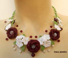 Spring necklace  Flower jewelry  Cosmos  Sakura  by insoujewelry