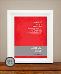 Happiness Inspirational Quote Art Buddha Quote Brown by IndigoRain, $15.00