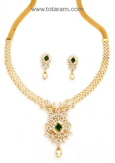 18K Gold Diamond Necklace & Earrings Set with Ruby,Onyx Stones & South Sea Pearls: Totaram Jewelers: Buy Indian Gold jewelry & 18K Diamond jewelry