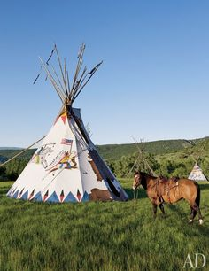 Ralph Lauren's Colorado ranch. The Chief's Tepee Exterior and his horse.   So Cool.