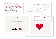 DIY Gästebuch im Moustache und Kußmund Design.   Eine tolle Erinnerung an Eure Hochzeit. Gästebuch zum Selbermachen. Ihr bekommt ein 3 seitiges PDF mit Titel (individuell mit Euren Namen und...