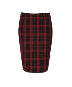 Plaid Pencil Skirt, Red/Black Plaid