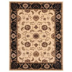 "Liberty Oriental Rugs Brillante Ebony/Cream Area Rug Rug Size: 3'3""W x 4'11""L"