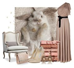 """Beige Bunny"" by kemp-jessica ❤ liked on Polyvore featuring Jenny Packham, Bobbi Brown Cosmetics and Jimmy Choo"