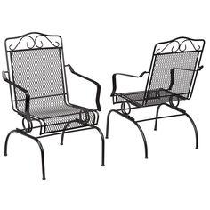 Hampton Bay Nantucket Rocking Metal Outdoor Dining Chair (2-Pack)