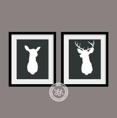 Mounted Deer Head 11x14 or 8x10 Silhouette Doe and von Leraland