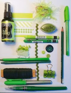 Inkwell Studios...Inspiration from my art supply stash..green