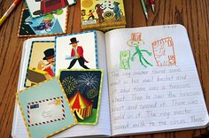 How to help your child with story starters -- objects, cards, stickers. Wonderful ideas with photos.