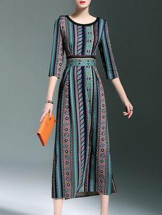 Shop Midi Dresses - Green A-line Vintage Crew Neck Cotton-blend Midi Dress online. Discover unique designers fashion at StyleWe.com.