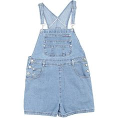 Mid Blue Denim Short Dungarees W36 ❤ liked on Polyvore featuring jumpsuits, rompers, overalls, shorts, bottoms, dresses, blue rompers, blue overalls, bib overalls and blue bib overalls