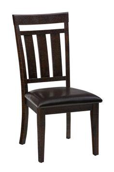 2 Kona Grove Casual Chocolate Wood Contoured Slatback Dining Chairs