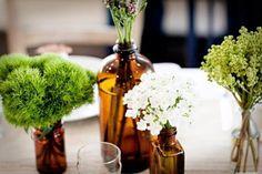 apothocary bottles as vases