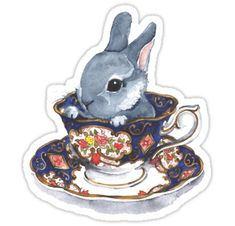 """""""Heirloom Bunny"""" Stickers by Denise Faulkner 
