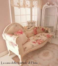 Shabby Chic Bedrooms Adults | Marie Antoinette shabby chic chaise longue day bed - 1/12 dolls house !