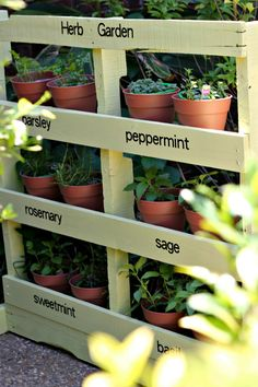 DIY Pallet Vertical Herb Garden (this site also has series of photos showing the project)
