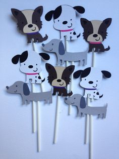 12 Dog Themed Cupcake Toppers,Puppy Party, Centerpice, Banner, Cake Topper, Table Cards