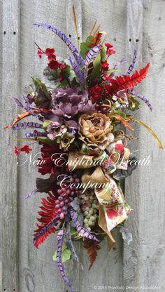 Floral Swag Tuscany Wreath Williamsburg Wreath by NewEnglandWreath