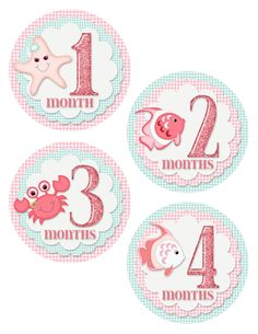 Digital printable baby month stickers. Baby girl monthly onesie stickers.  Pink, under the sea, fish. BM-012 on Etsy, $5.00