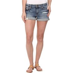 Joe's Jeans Rolled Shorts in Gessa Women's Shorts, Blue ($90) ❤ liked on Polyvore featuring shorts, blue, ripped shorts, distressed denim shorts, jean shorts, destroyed denim shorts and sports shorts