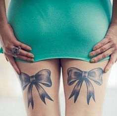 black and white bow tattoos on back of legs | bow tattoos on Tumblr