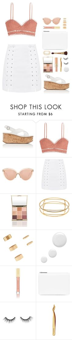 """""""Summer Date Night"""" by shoelover220 ❤ liked on Polyvore featuring Prada, Zimmermann, Linda Farrow, Topshop, Trina Turk, Forever 21, Kevyn Aucoin, Maison Margiela, tarte and summerglow"""