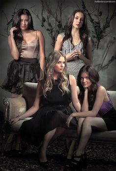 Emily, Spencer, Hanna, and Aria. the Pretty Little Liars.