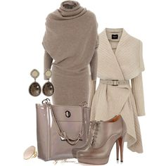 """Taupe"" by gaburrus on Polyvore. Perfect sexy day to night outfit for a night in Chicago."